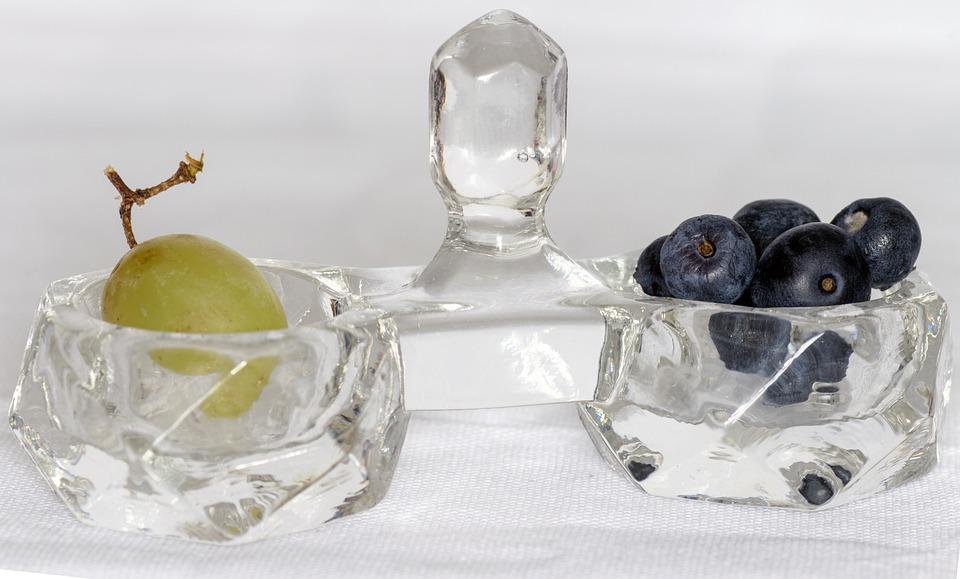 Shell, Crystal Bowl, Blueberry, Grape