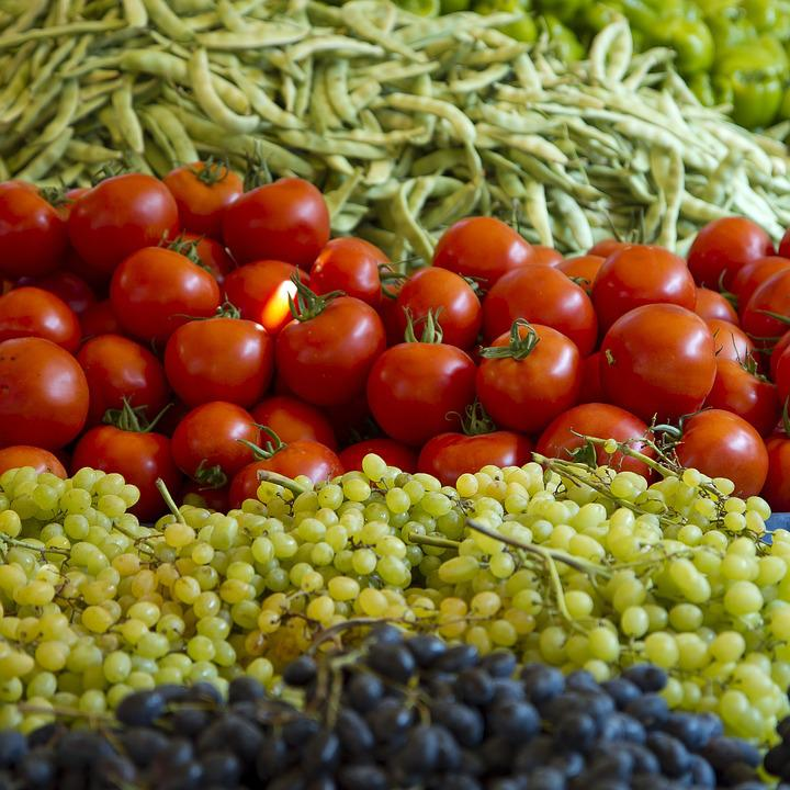 Tomatoes, Grapes, Beans