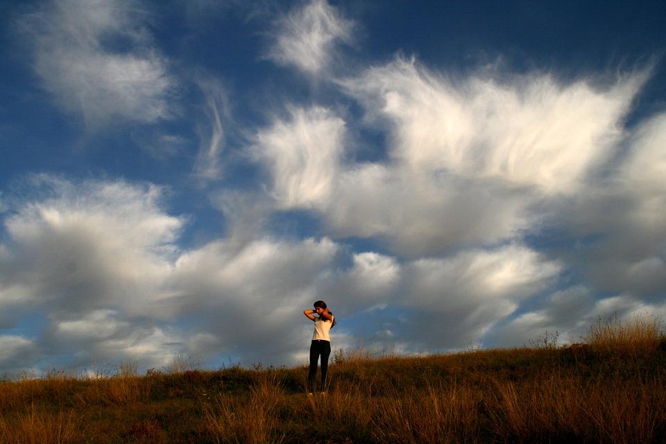 Girl, Cloud, Grass, Sky, Autumn, Beauty