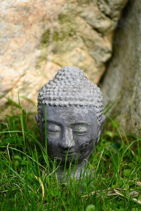Buddha Head, Grass, Garden, Meadow