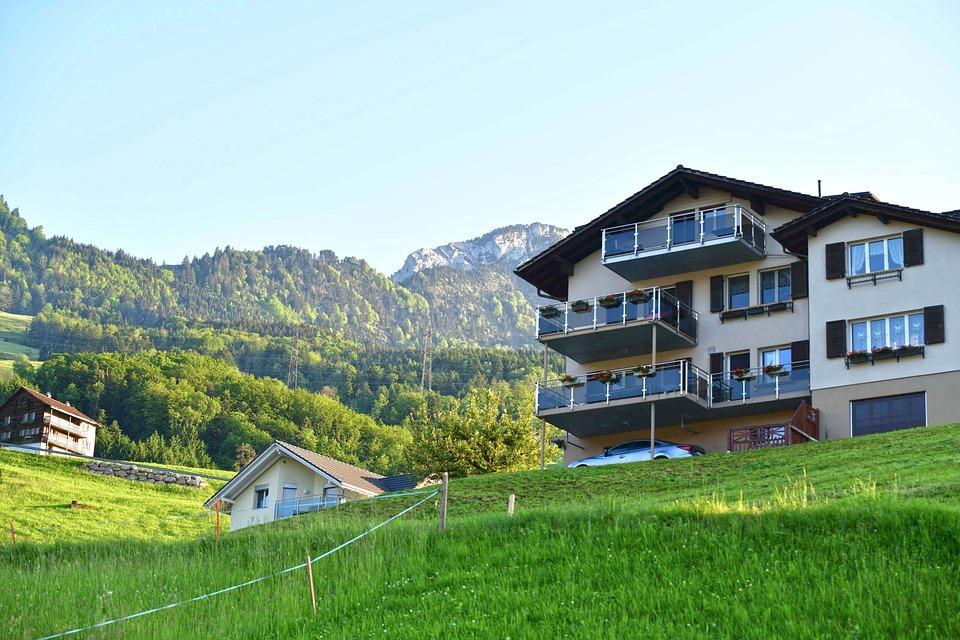 Village, Houses, Lauerz, Hill, Meadow, Buildings, Grass