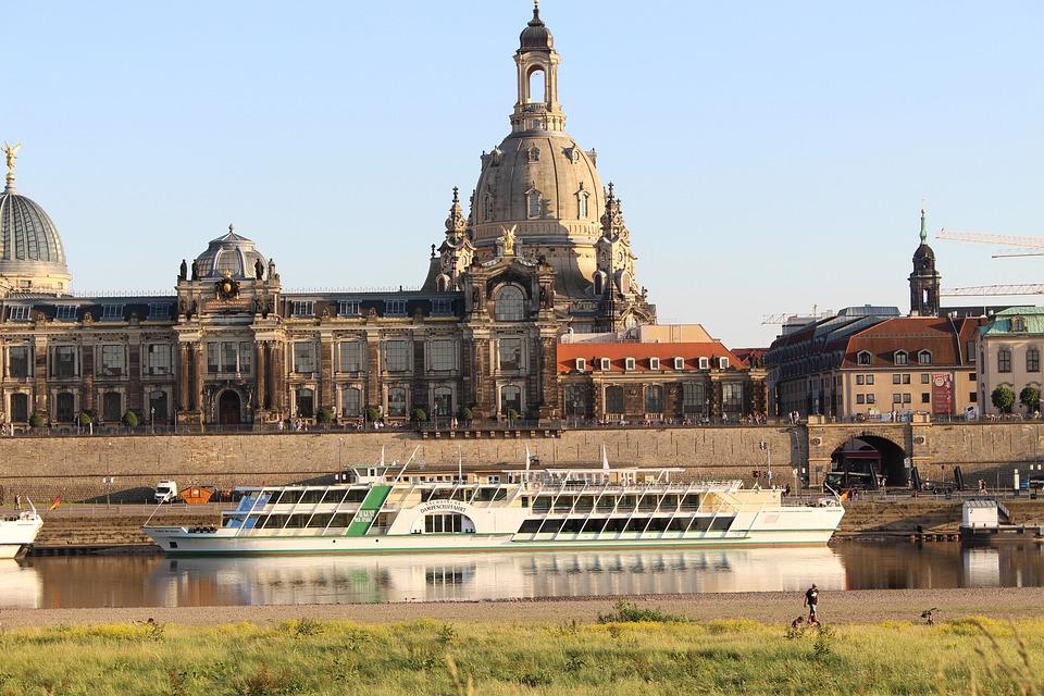 Dresden, Elbe, Grass, Sun, Day, Frauenkirche