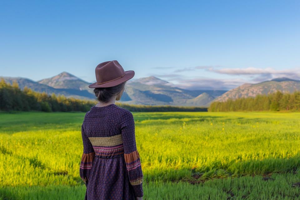 Countryside, Cropland, Farm, Field, Girl, Grass