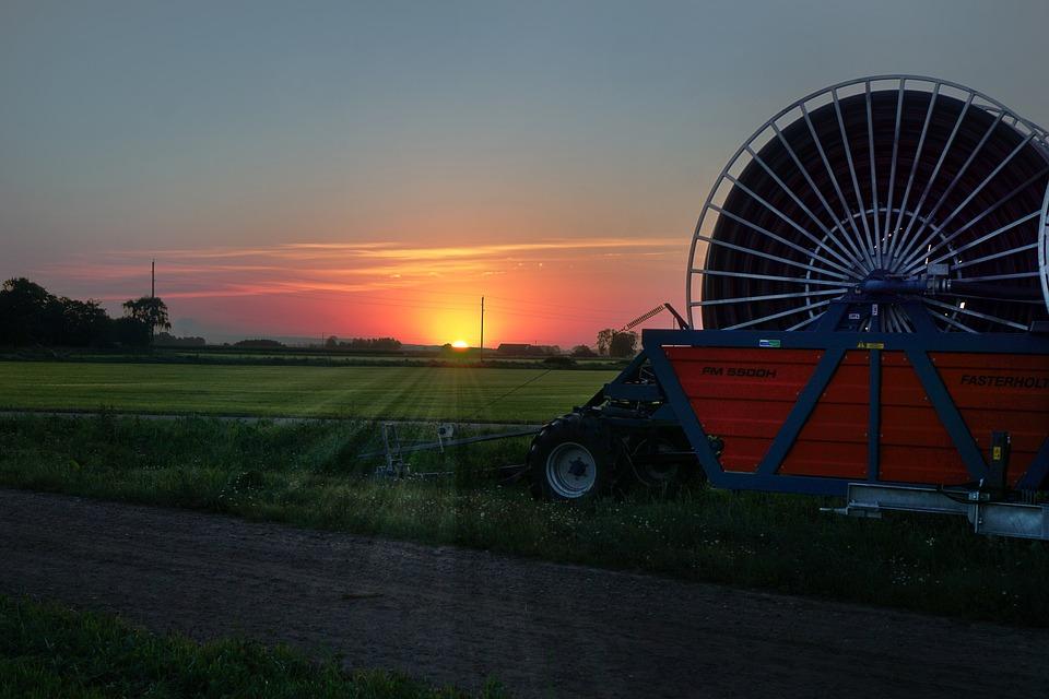 Sunrise, Agricultural, Farmer, Field, Grass, Irrigation