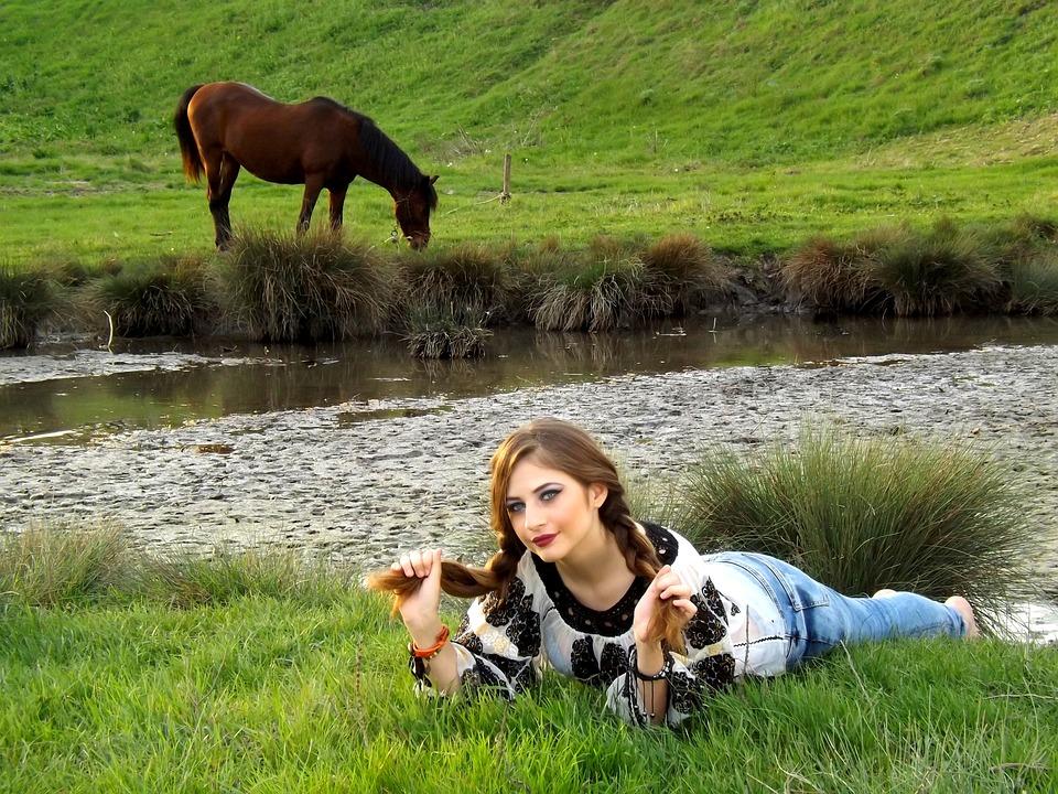Girl, Horse, Rustic, Grass, Lake, Meadow, Green