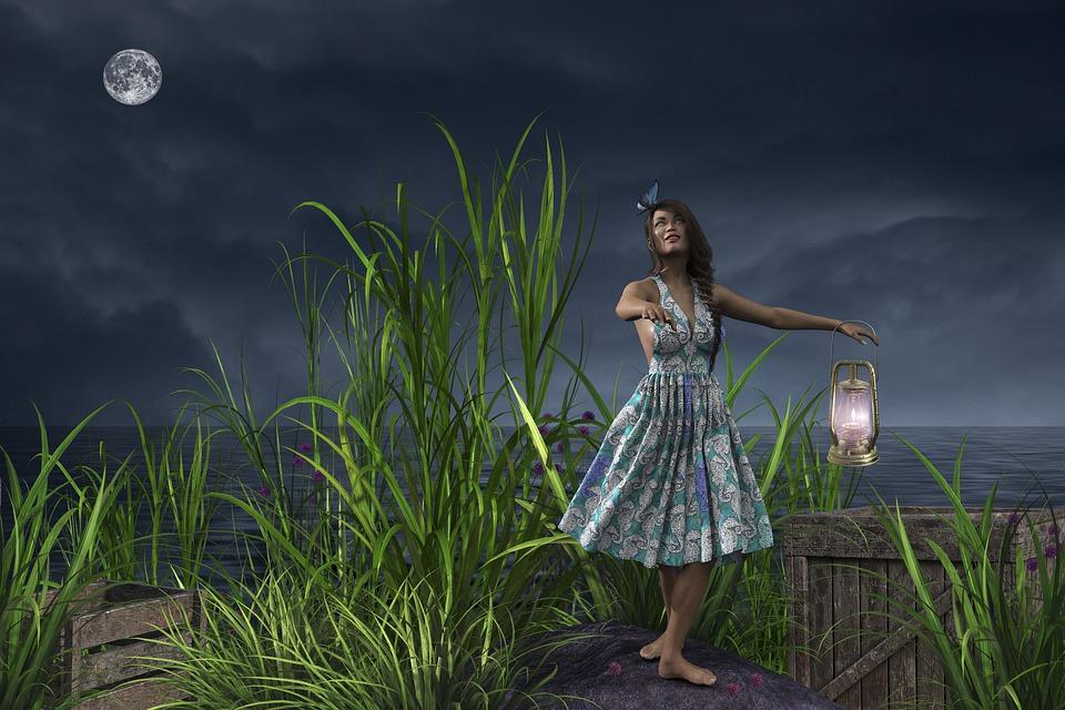 Fantasy, Woman, Sea, Dancing, Girl, Dance, Lamp, Grass