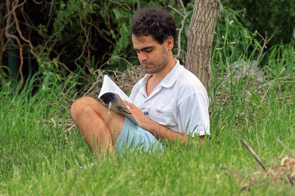 Person, Man, Young, Reading, Book, Placed, Grass, Park