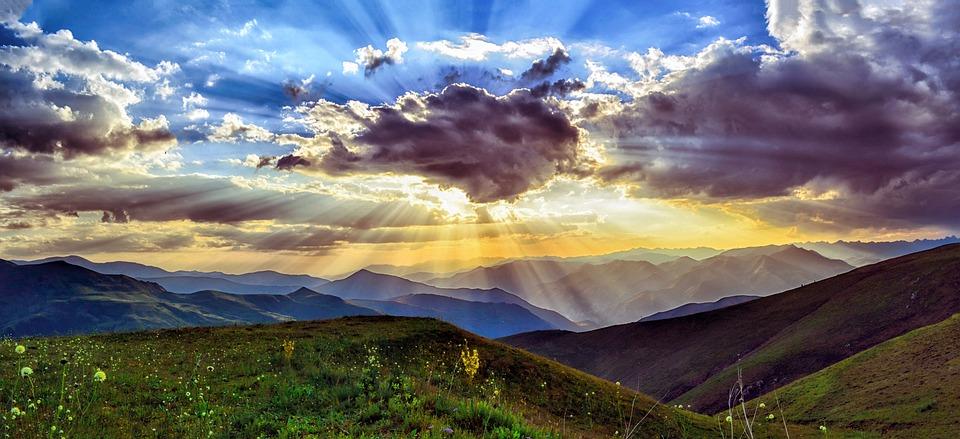 Sunset, Dawn, Nature, Mountains, Landscape, Grass