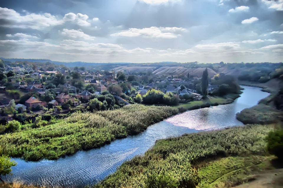 Nature, Small River, Sky, Dacha, Grass