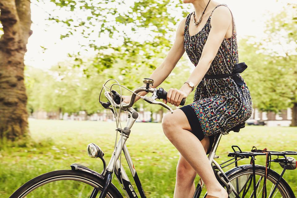 Bicycle, Bike, Cyclist, Girl, Grass, Outdoors, Park