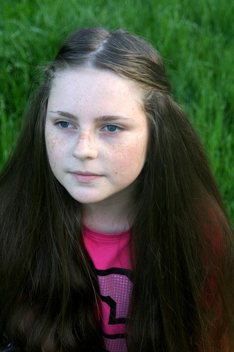 Freckle Face, Portrait, Grass