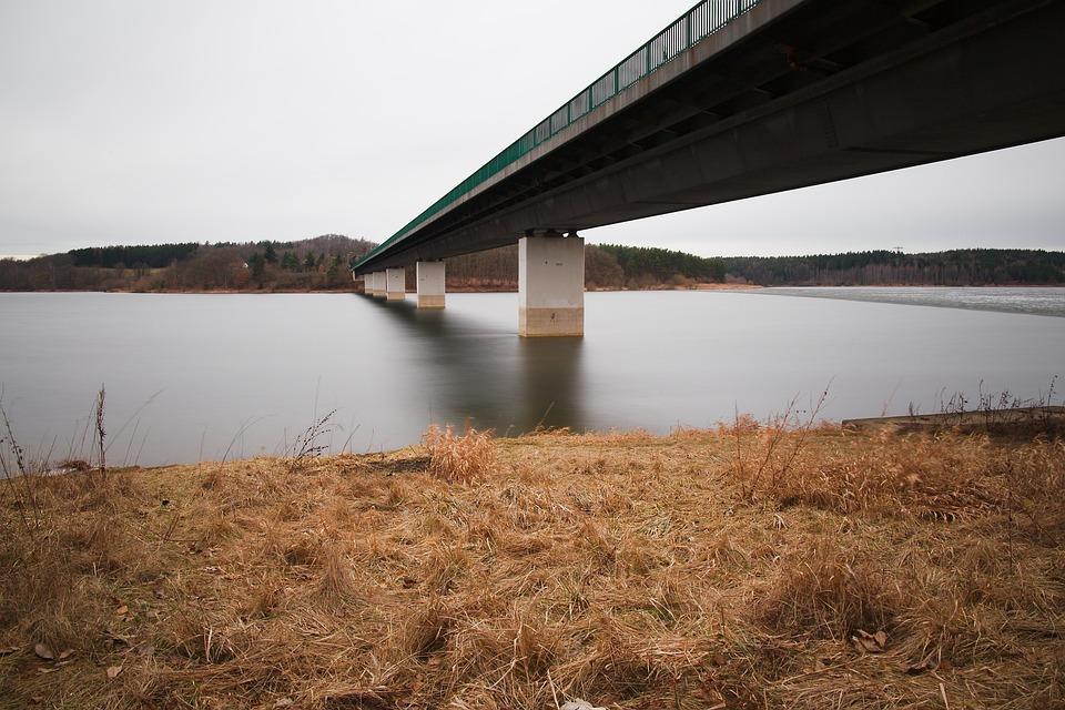 Waters, Nature, Sky, Lake, River, Bridge, Grass