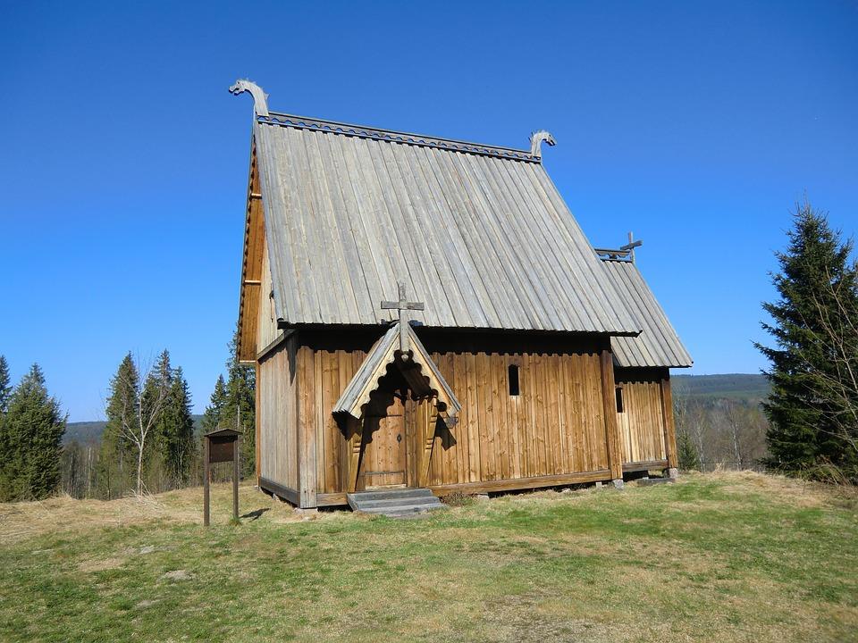 Sweden, Landscape, Sky, Building, Church, Grass, Trees