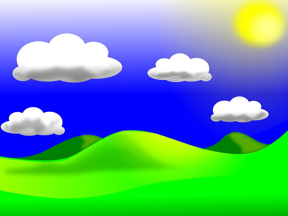 Landscape, Sky, Clouds, Sunny, Greenery, Grass, Hills