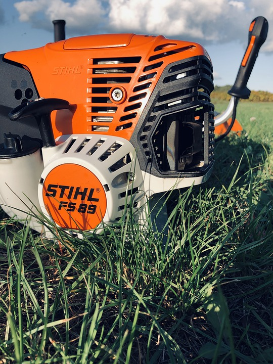 Stihl, Spit Exhaust, Grass, Mowing The Grass, Garden