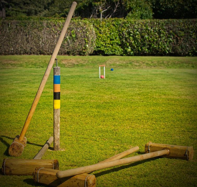 Croquet, Garden, Play, Sport, Ball, Gates, Kick, Grass