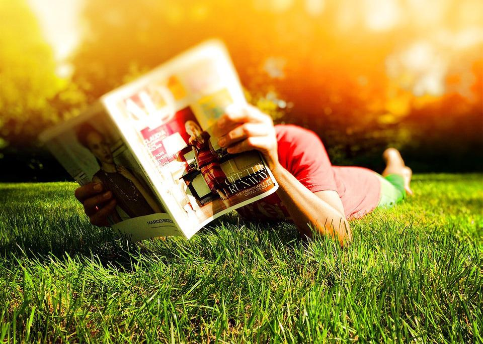 Person, Reading, Laying, Grass, Sunny, Summer