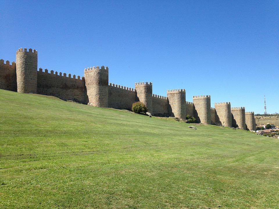 Avila, Walls, Grass, Castle, Medieval, Wall, Stone Wall