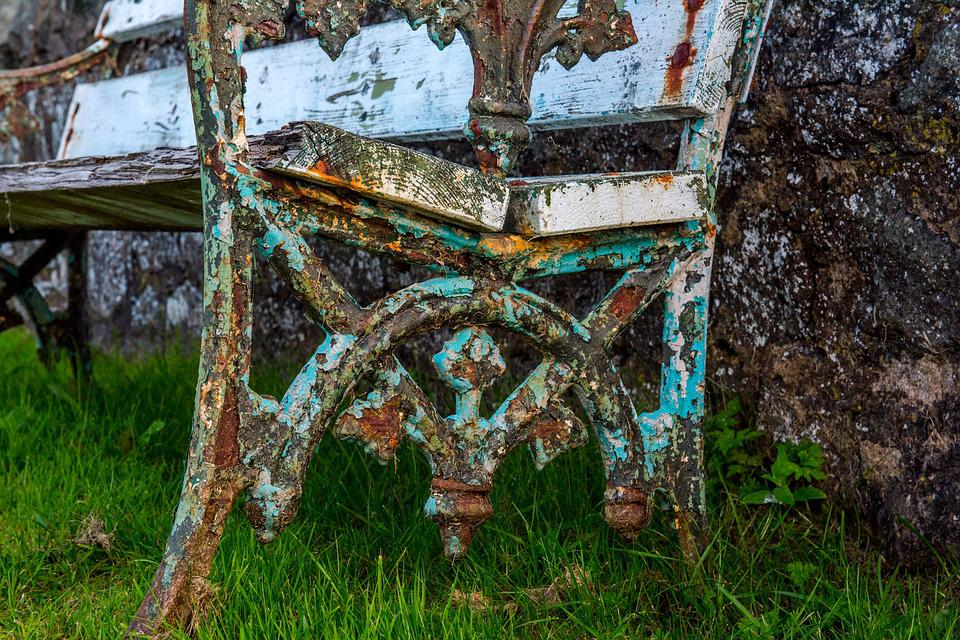 Park Bench, Old, Grass, Rusty, White, Stand Still, Sit