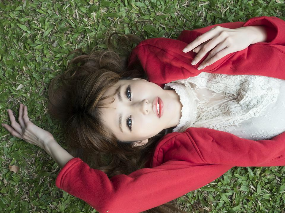 Grassland, Portrait, College Students, Young Woman, Lie