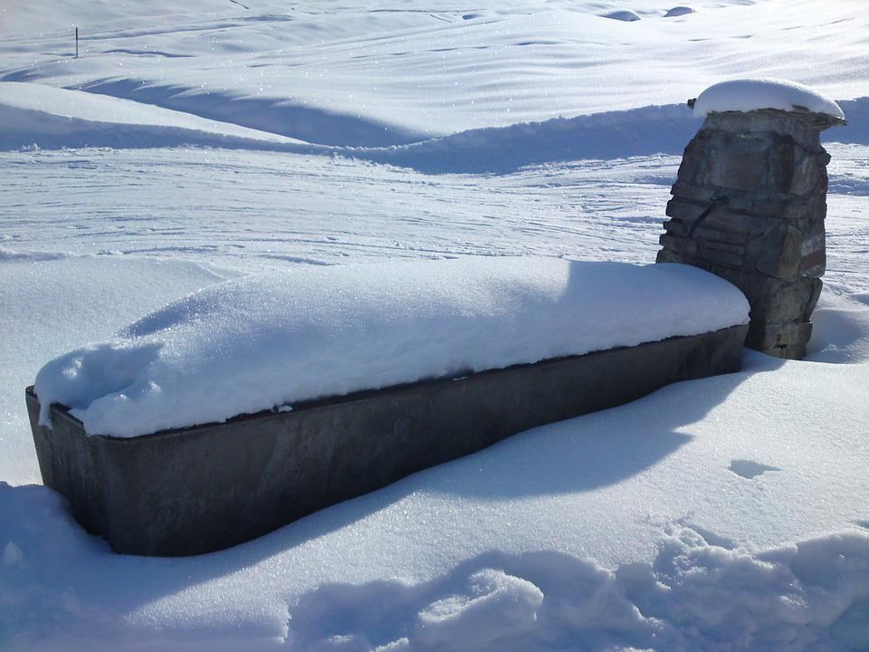 Fountain, Snow, Winter, Water, Graubünden