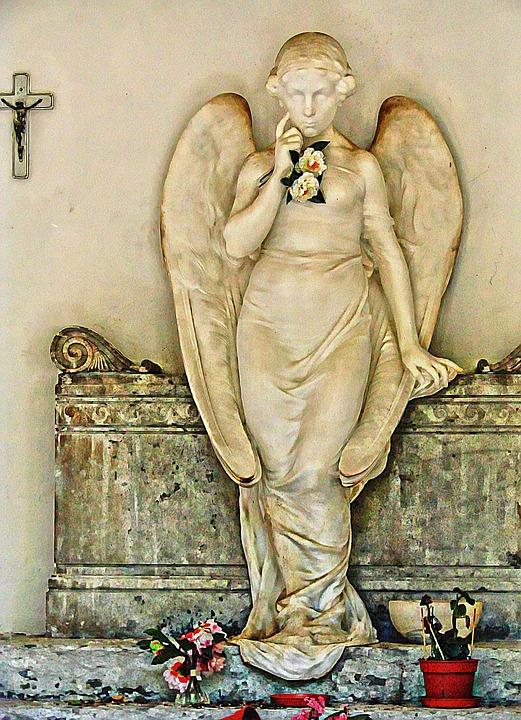 Angel, Statue, Concrete, Cemetery, Death, Grave
