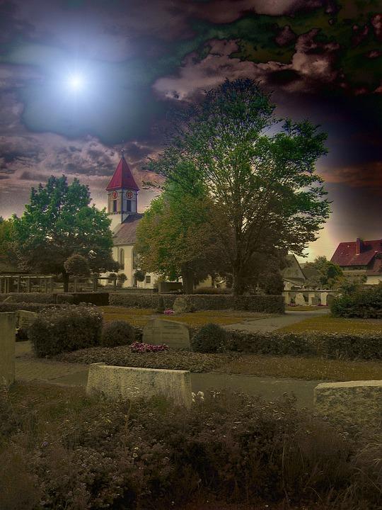 Church, Cemetery, Churchyard, Trees, Graves, Grave