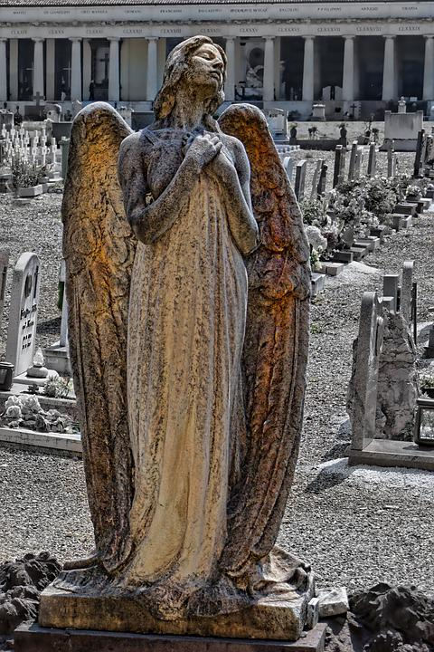 Grave Monument, Angel Figure, Cemetery, Mourning, Sweet