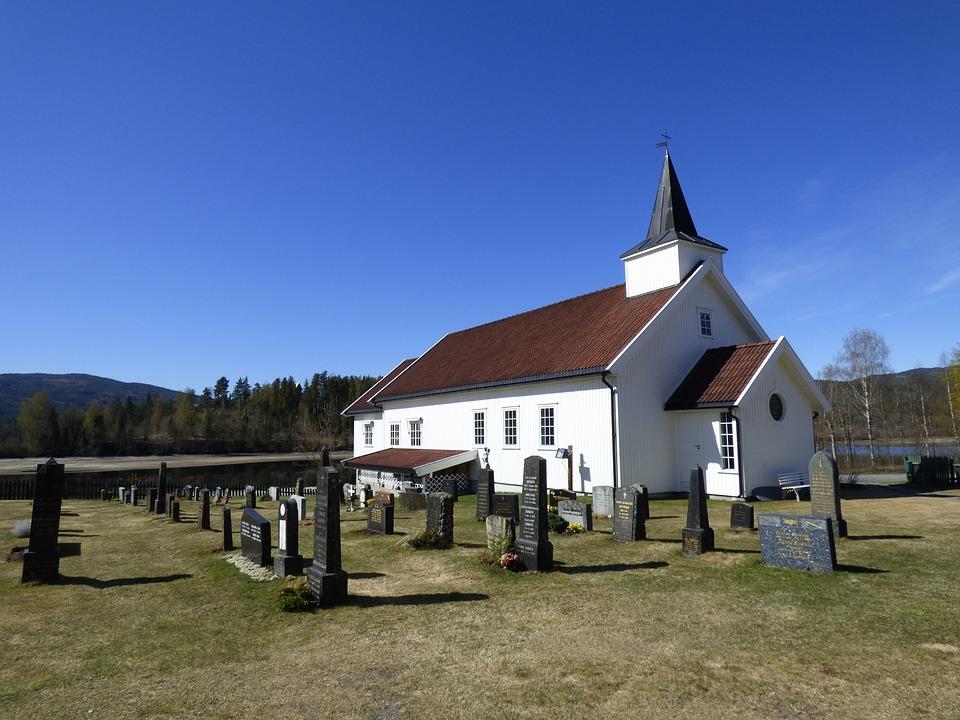 Church, Cemetery, Grave, Graveyard, Norway, Gravestone