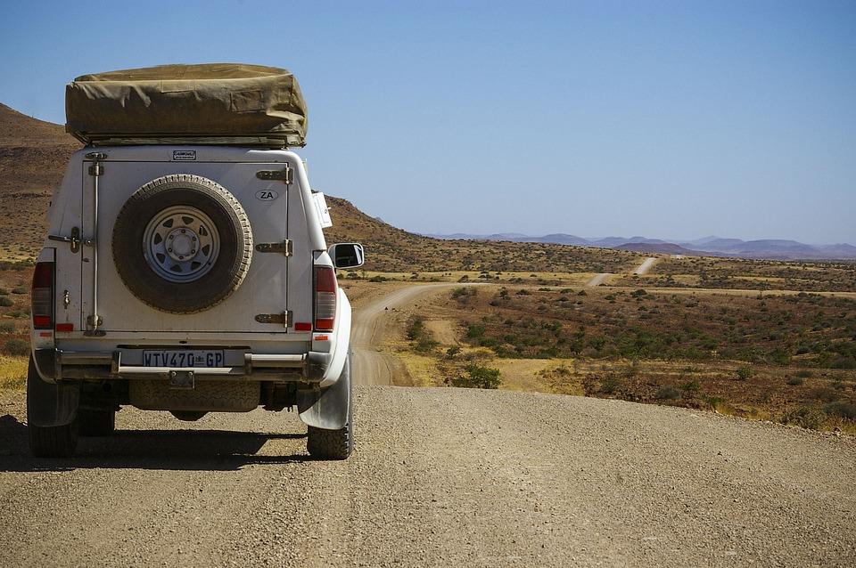 Adventure, Namibia, Jeep, Gravel Road