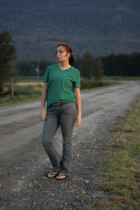 Woman, Standing, Path, Road, Gravel, Rural, Jeans