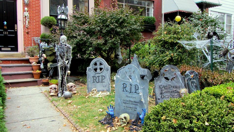 Halloween, Creepy, Skeletons, Graves, Cemetery