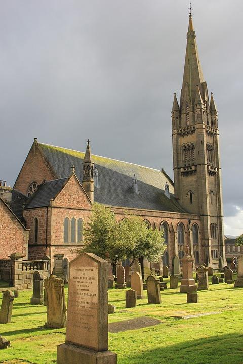 Church, Graveyard, Gravestone, Cemetery, Tombstone