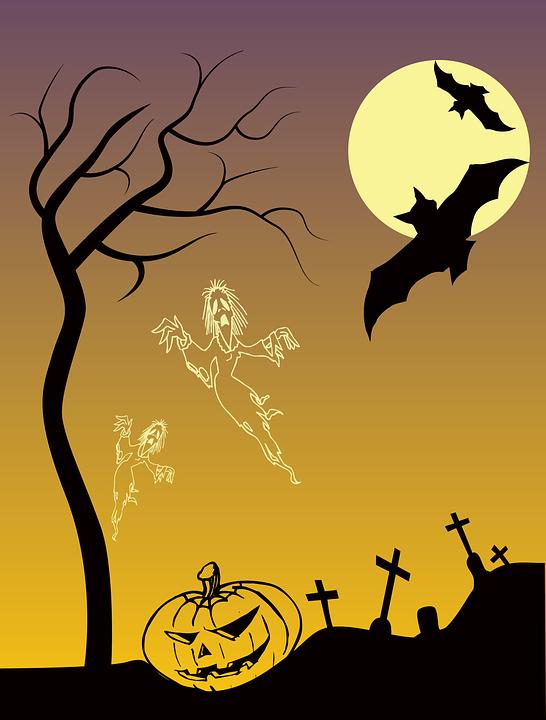 Bats, Dead, Gravestones, Graveyard, Halloween