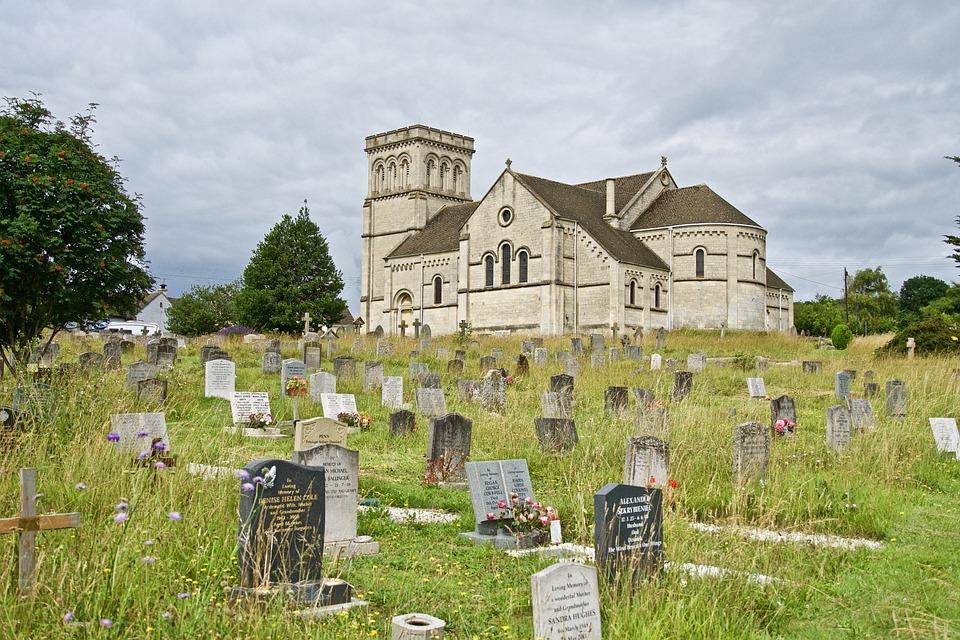 Church, Cemetery, Graveyard, Old, Vintage, Religious