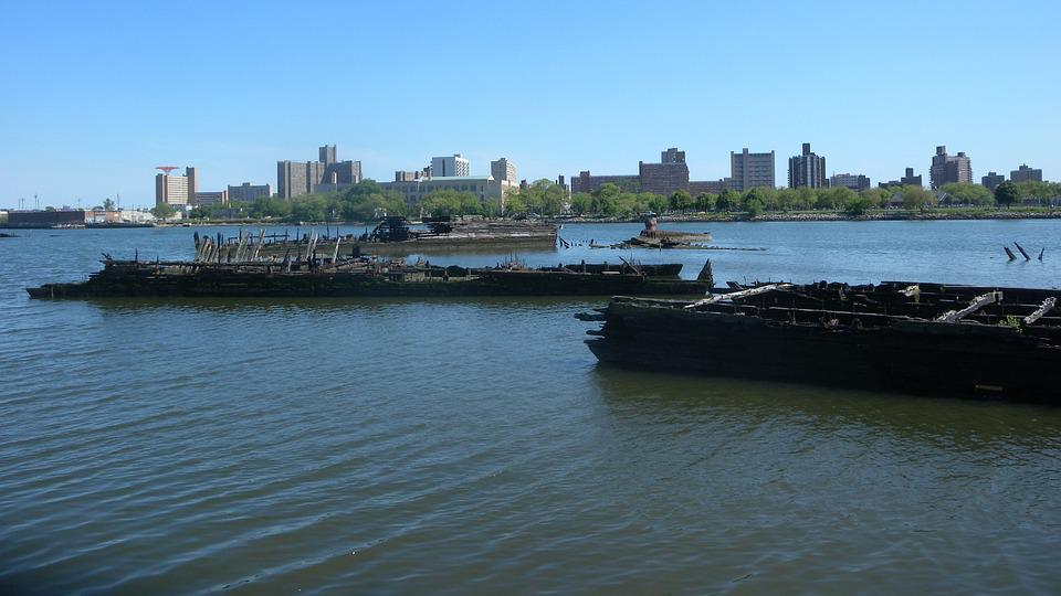 Barges, Ships, Sunken, Graveyard, Old, Weathered, Rusty
