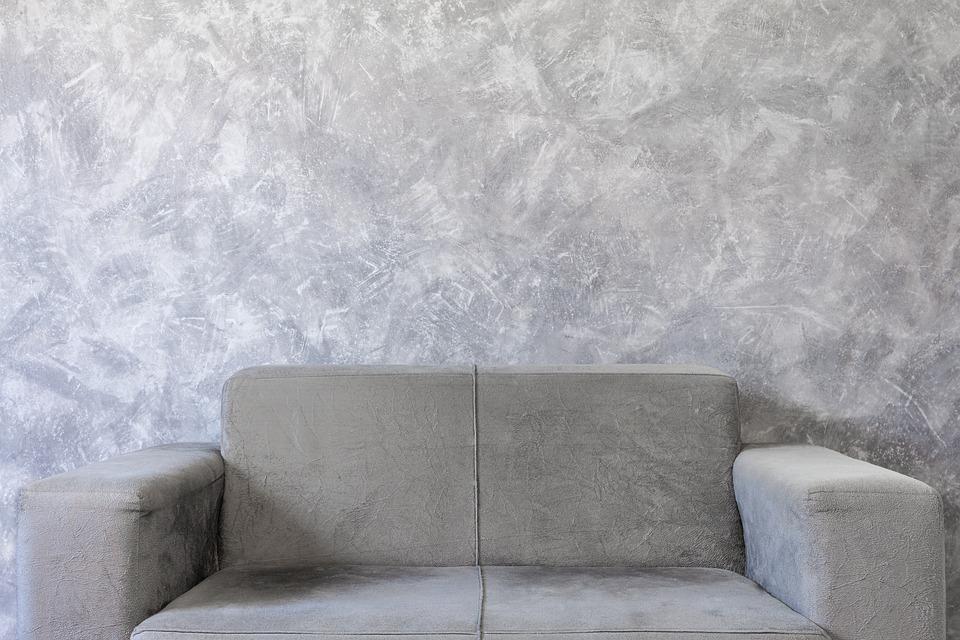 Sofa, Couch, Wall, Graphite, Gray, Decoration, Design