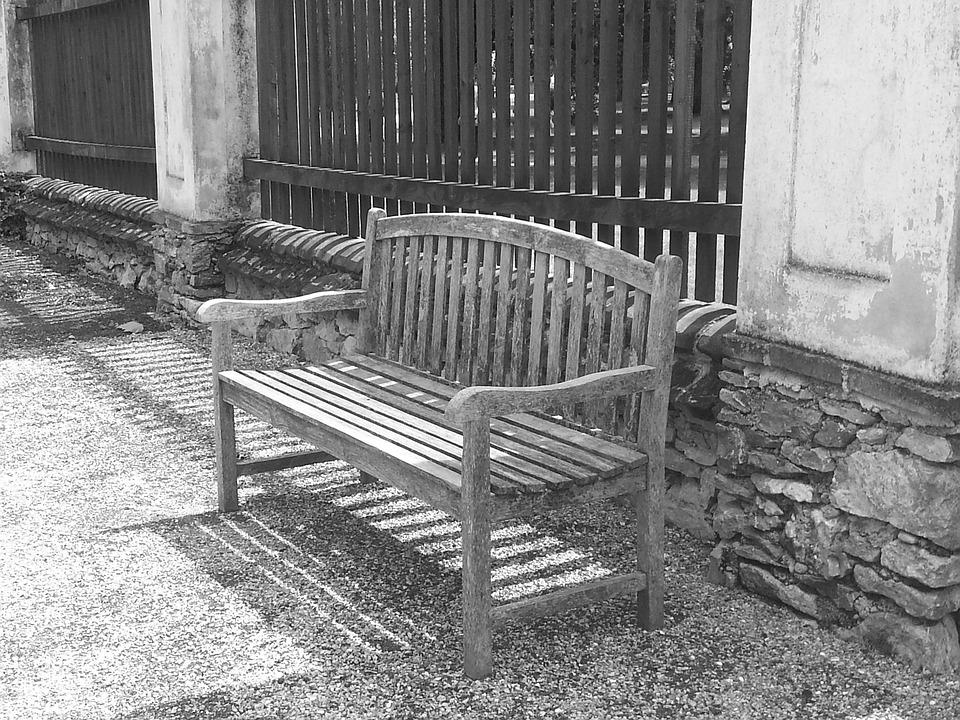 Gray, Bench, Garden