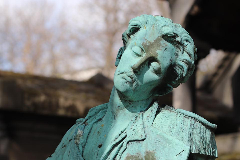 Sculpture, Bronze, Gray-green, Patina, Cemetery, Falls