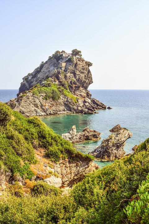 Greece, Skopelos, Kastri, Ayios Ioannis, Rock, Coast