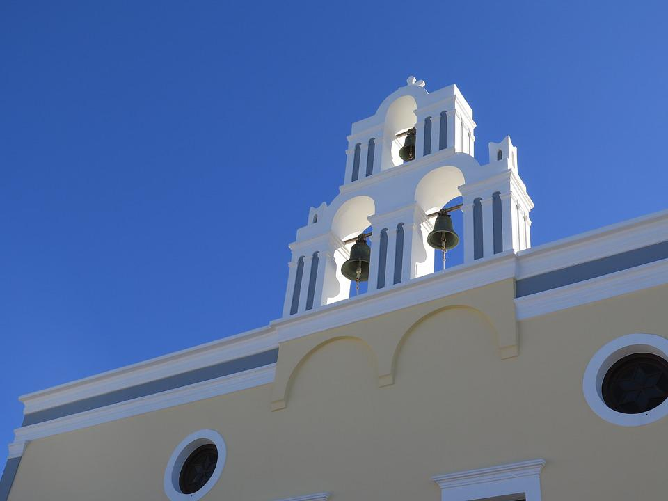 Santorini, Church, Blue Sky, Greece
