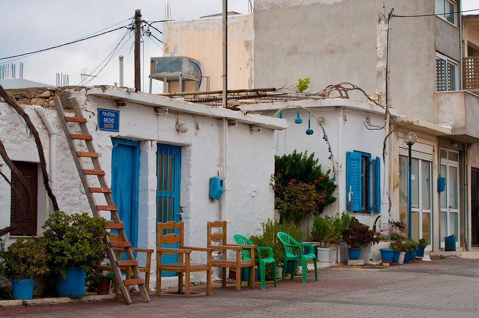 Greece, House, Blue, White, Autumn, Vacations, Building