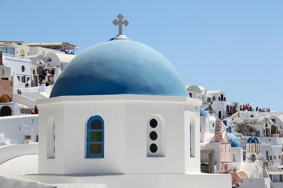 Santorini, Oia, Church, Greece, Travel, White, Village