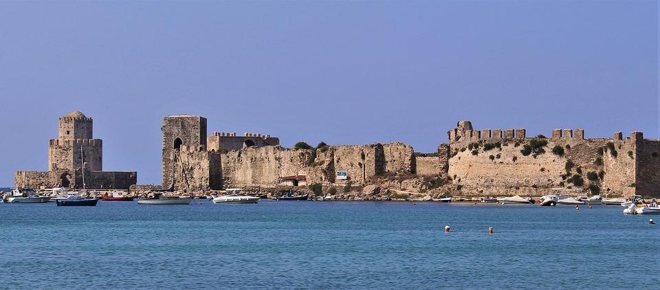 Methoni, Castle, Greece, Fortress, Old, Coast, Building
