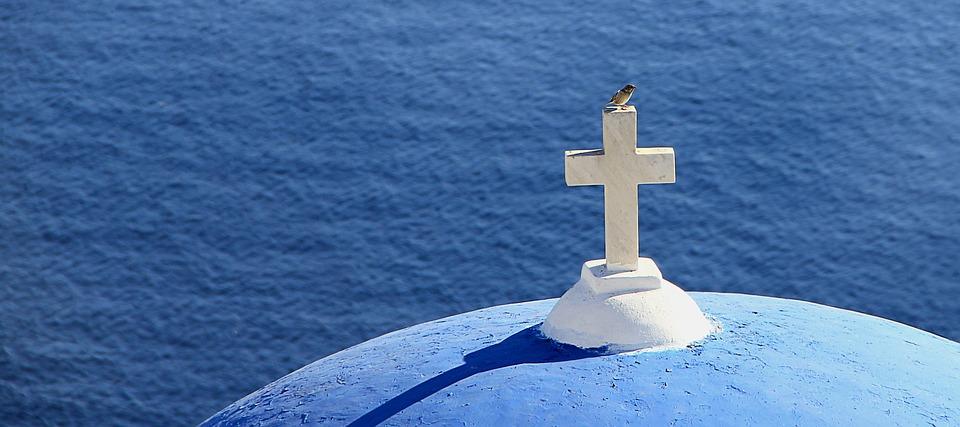 Greece, Cross, Bird, Sea, Church, Spiritual, Blue