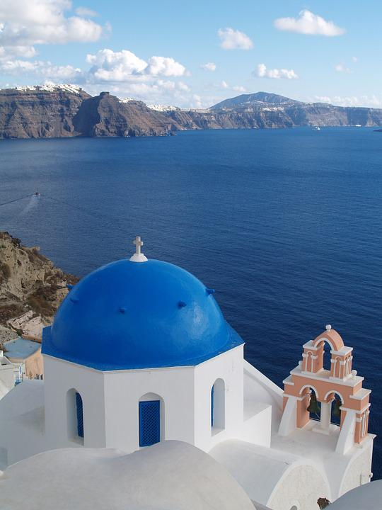 Greece, Sea, Mediterranean Sea, Santorini, Blue, Cross