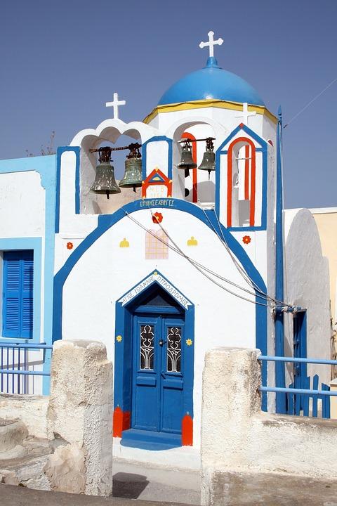 Santorini, Greece, Cyclades, Island, Church, Blue