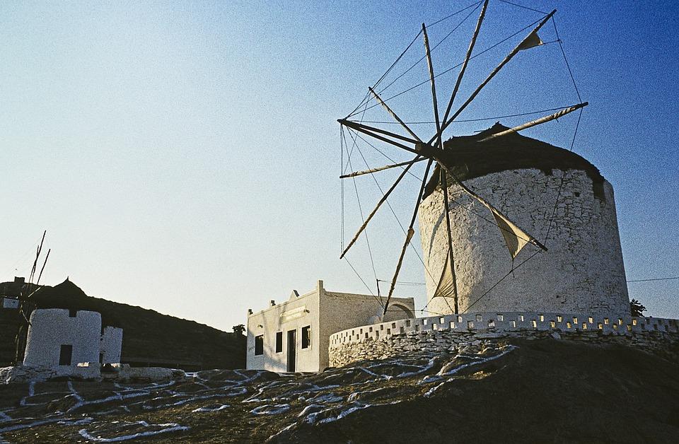 Greece, Ios, Greek Island, Windmill, Evening Sun