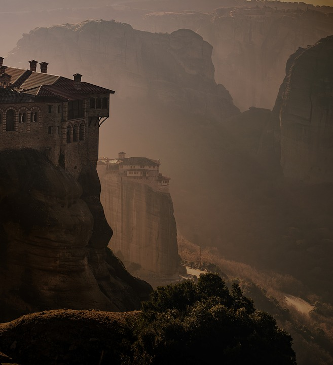 Meteora, Greece, Monastery, Landscape, Mountain