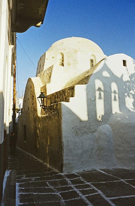 Greece, Ios, Greek Island, Chapel, Church, Morning Sun